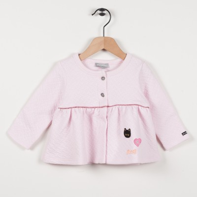 Cardigan rose clair en molleton - Rose pale