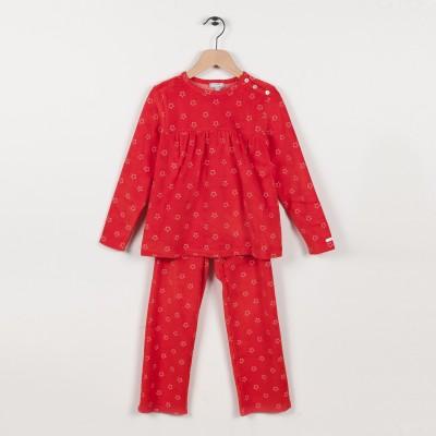 Pyjama en velours imprimé - Rouge