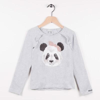 Tee-shirt avec motif panda - Gris clair