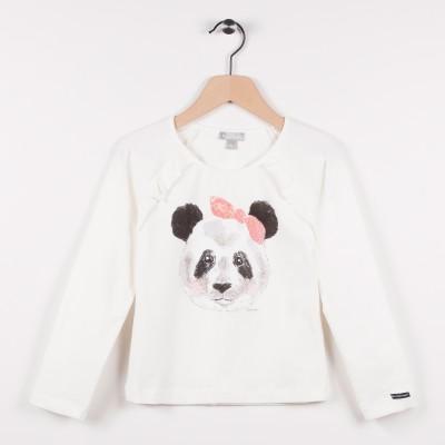 Tee-shirt avec motif panda - Ecru