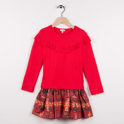 Robe bi-matière avec volants - Rouge