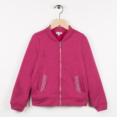 Sweat zippé molleton - Framboise