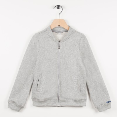 Sweat zippé molleton - Gris clair chine