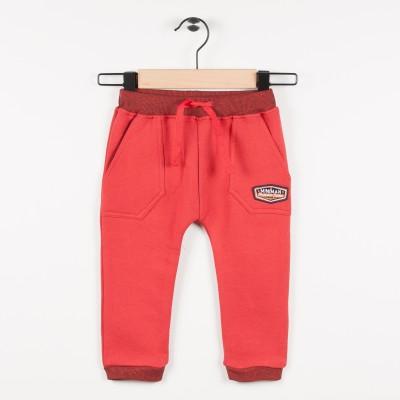 Pantalon molleton taille élastiquée - Rouge