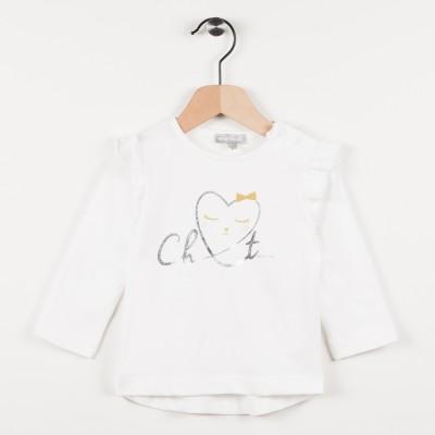 Tee-shirt écru avec motif cœur - Ecru