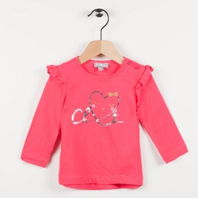Tee-shirt fuchsia avec motif cœur- Fuchsia