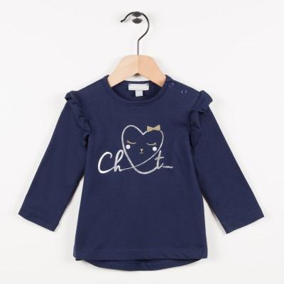 Tee-shirt marine avec motif cœur - Marine