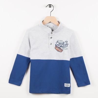 Polo bicolore en jersey - Bleu canard