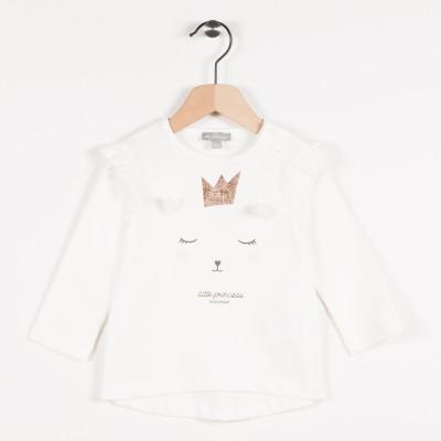 Tee-shirt écru avec motif chat - Ecru