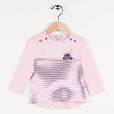 Tee-shirt rose avec motif chat - Rose pale