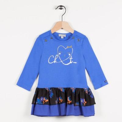 Robe bi-matière avec motif cœur - Bleu