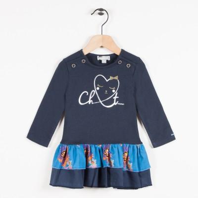 Robe bi-matière avec motif cœur - Marine