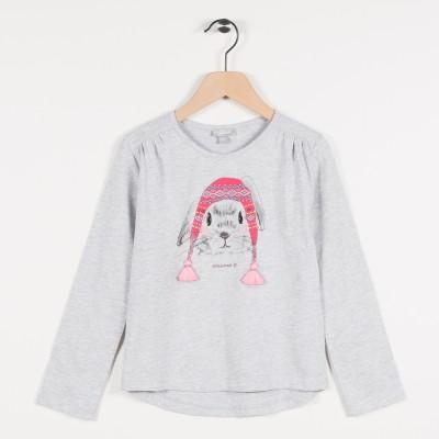 Tee-shirt avec motif lapin - Gris clair