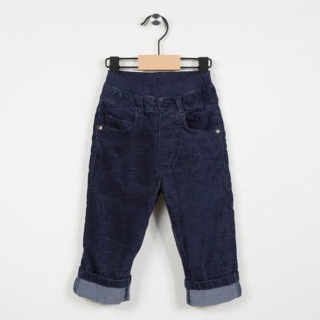 Pantalon en velours avec taille élastiquée - Marine