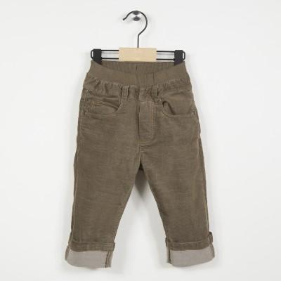 Pantalon en velours avec taille élastiquée - Marron clair