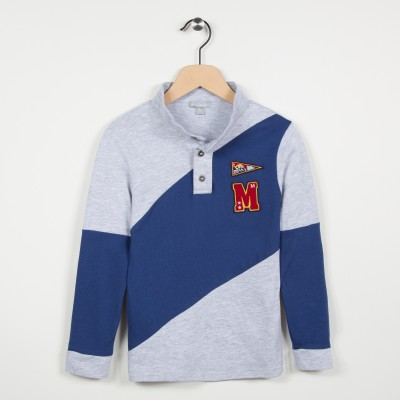 Polo bicolore en jersey - Gris clair