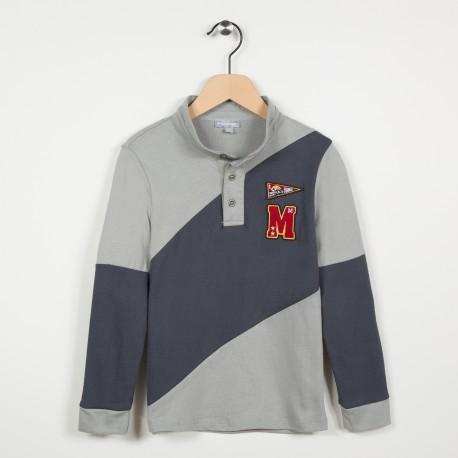 Polo bicolore en jersey - Gris fonce