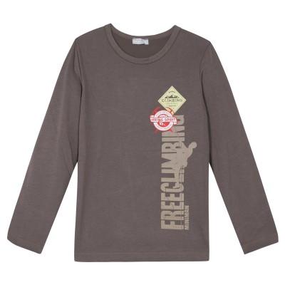 Tee-shirt marron avec motif imprimé - Chocolat