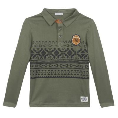 Polo en jersey avec motif imprimé - Kaki
