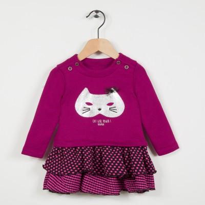 Robe bi-matière avec motif chat - Framboise