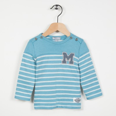 Tee-shirt esprit marinière - Turquoise