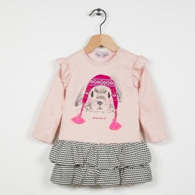 Robe bi-matière avec motif lapin - Rose pale