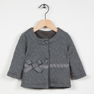 Cardigan gris en maille fantaisie - Gris fonce