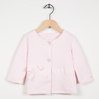 Cardigan rose en maille fantaisie - Rose pale
