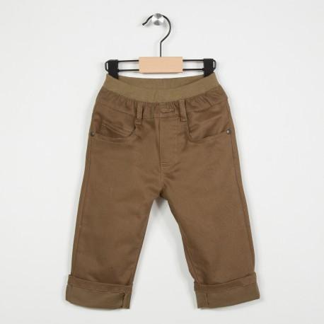 Pantalon 5 poches avec taille élastiquée - Marron clair