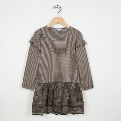 Robe bi-matière avec strass - Noir