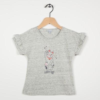 Tee-shirt avec volants - Gris clair