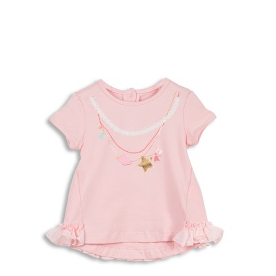 Tee-shirt rose avec motif collier