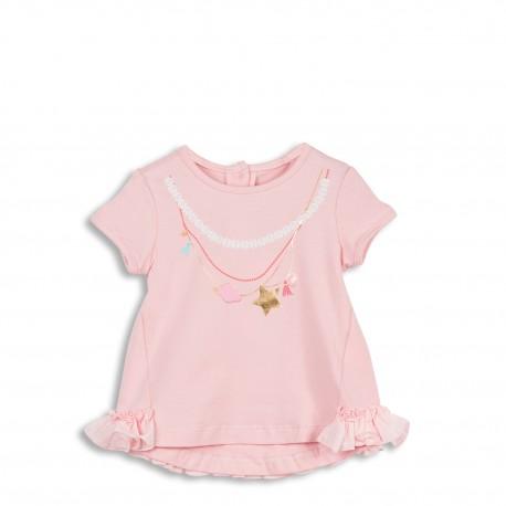 Tee-shirt rose avec motif collier