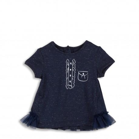 Tee-shirt marine avec volants en tulle