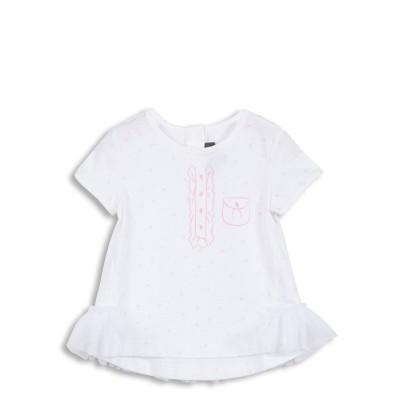 Tee-shirt blanc avec volants en tulle