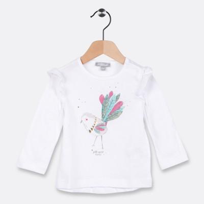Tee-shirt avec petits volants Blanc