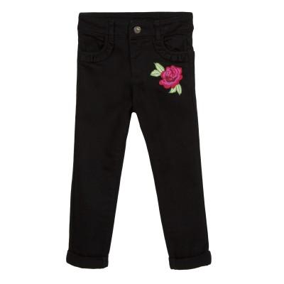 Jean noir avec fleur brodée