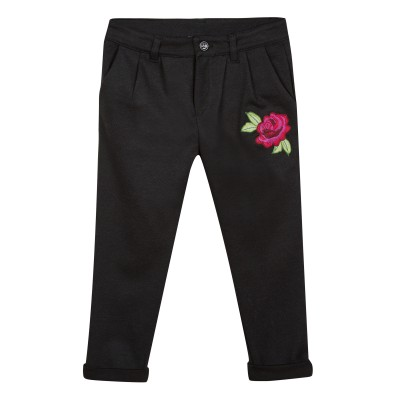 Pantalon avec fleur brodée
