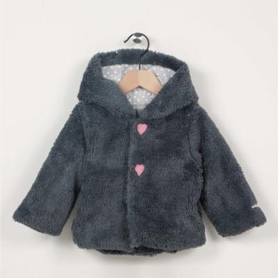 Manteau imitation fourrure à capuche