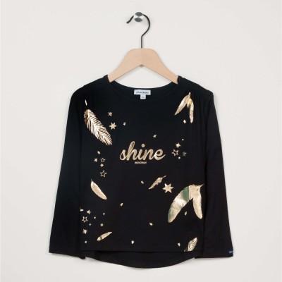 T-shirt manches longues motif imprimé étoiles et plumes