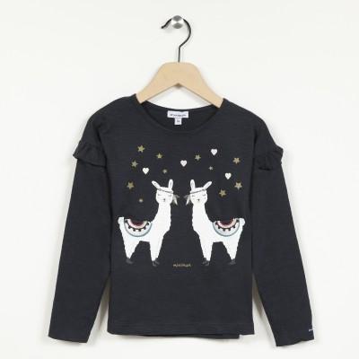T-shirt manches longues motif imprimé lama