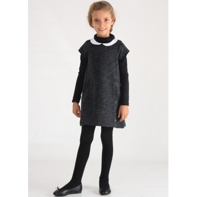 Robe manches courtes col claudine