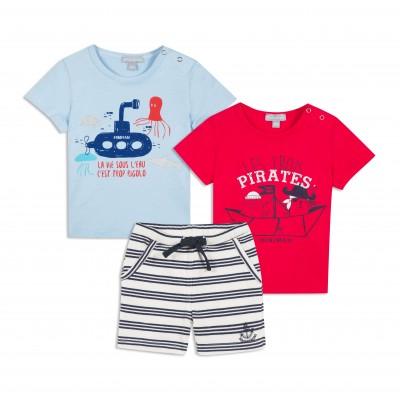 Ensemble 3 pièces T-shirts et bermuda molleton