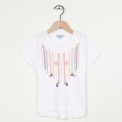 T-shirt col rond imprimé avec pompons
