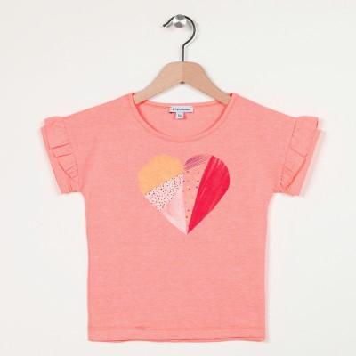 T-shirt à volants motif devant