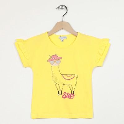 T-shirt à manches volantées motif devant