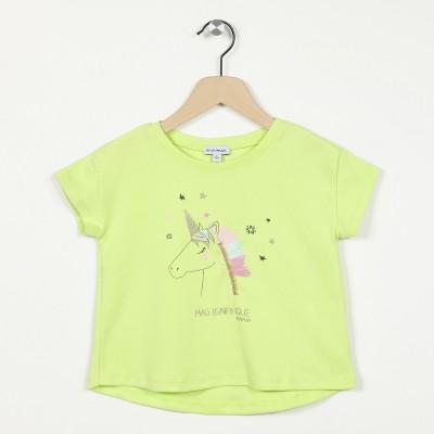 T-shirt manches courtes motif licorne