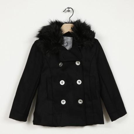 Manteau drap de laine col imitation fourrure