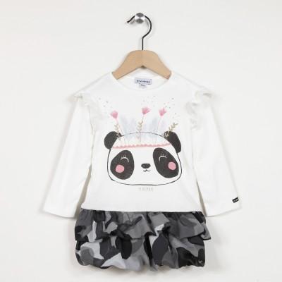 Robe manches longues motif imprimé panda
