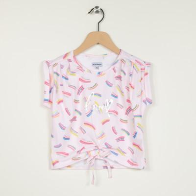 T-shirt imprimé avec nœud fantaisie